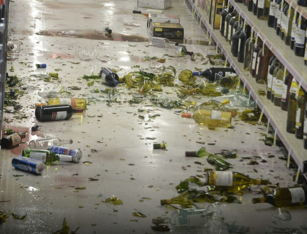 A magnitude 5.1 earthquake in Fullerton, Calif., knocked several wine bottles onto the floor at a CVS pharmacy Friday.
