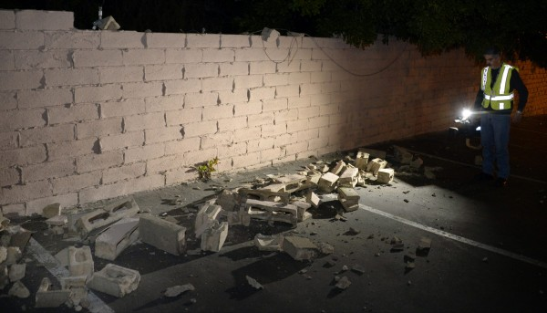 A magnitude 5.1 earthquake in Fullerton, Calif.,  damaged this wall Friday. The quake struck suburban Los Angeles on Friday evening, rattling a wide swath of Southern California, rupturing water mains in nearby Fullerton, and prompting Disneyland to shut down rides.