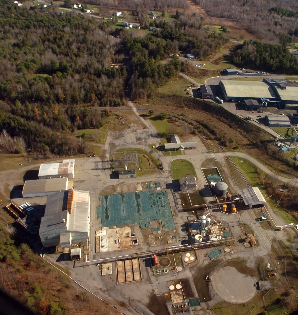 The former HoltraChem facility (left) and the PERC plant in Orrington. Aerial photo taken Nov. 12, 2010.