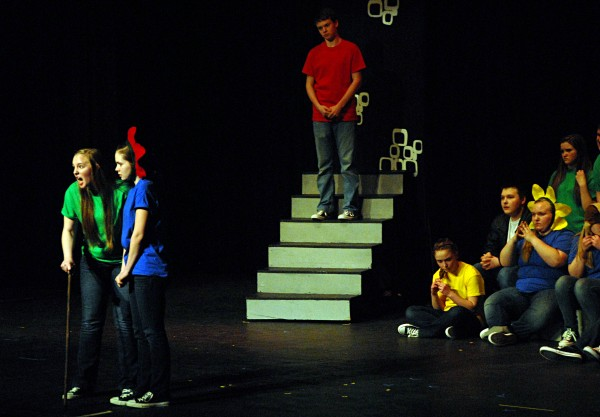The Stearns-Schenck high schools drama troupe won second place in one of nine 2014 Maine Drama Festival one-act play competitions held statewide on March 7-8, 2014. This performance occurred at Stearns High School.