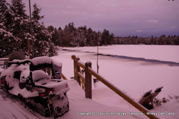 A view off the deck at Willey's Dam Camp in December.
