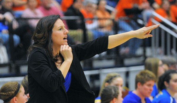 Washburn High School head coach Diana Trams motions to a player during the game against Forest Hills Consolidated School in the Class D girls state championship game at the Augusta Civic Center on Saturday.