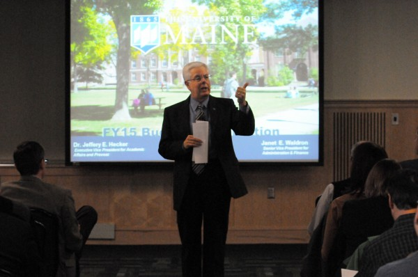 Staff and faculty members attend a campus meeting on the UMaine budget where UMaine President Paul Ferguson and other UMaine leaders outlined changes.