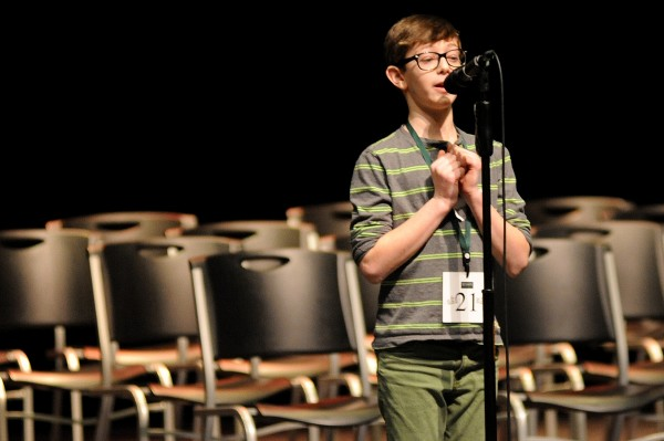 Nathan Manaker, a seventh-grader at Orono Middle School, spells the word &quottertiary&quot to win the 3rd Annual Penobscot County Spelling Bee at Husson University on Saturday. Manaker will head to Washinton, D.C., to compete in the Scripps National Spelling Bee in May.