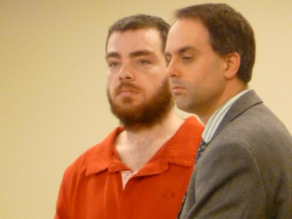 Lauren MacArthur, 29, of Medway (left) was sentenced Thursday to 10 years in state prison on charges related to a 15-mile high speed chase in 2012 and assaults on jail personnel. He appeared at the Penobscot Judicial Center with his attorney, Hunter Tzovarras of Bangor.