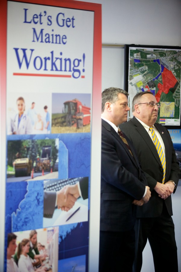Gov. Paul LePage (right) stands with George Gervais, commissioner of the Maine Department of Economic and Community Development, after offering details about his &quotOpen for Business zones&quot