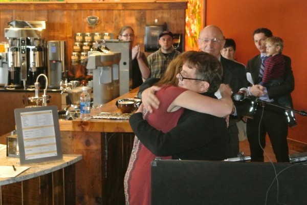 Coffee By Design owners Mary Allen Lindemann and Alan Spear celebrate.