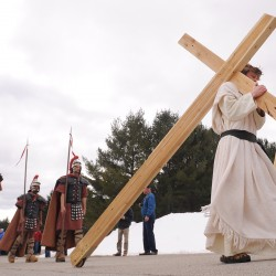 Teen builds outdoor Stations of the Cross in pine trees at Hampden church