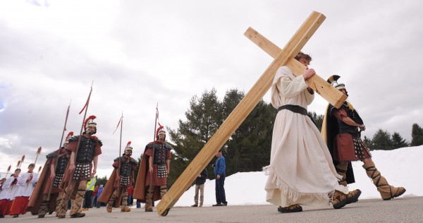 Justin Vroom portrays Jesus during the Way of the Cross procession organized by area Catholic parishes. The procession started at St. Joseph's Catholic Church in Brewer, and participants walked about two miles to St. John's Catholic Church in Bangor.