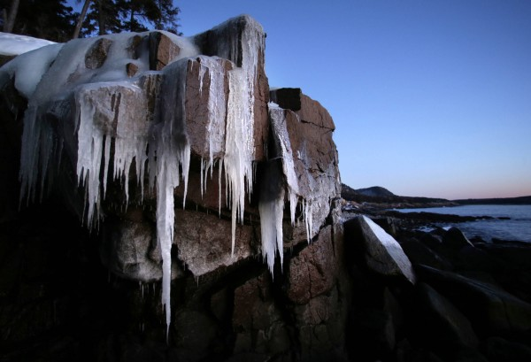 Winter still has it's grip on Acadia National Park, just south of Thunder Hole.