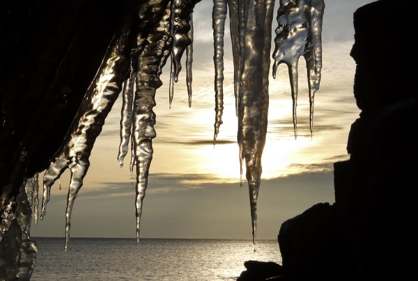 Early morning light shines through icicles on the rocks at Acadia National Park.