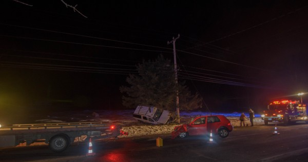 Two motorists were injured when their vehicles collided in a near head-on crash Saturday night, police reported. The accident occurred on Surry Road between Sweet Fern Way and Colby Way.