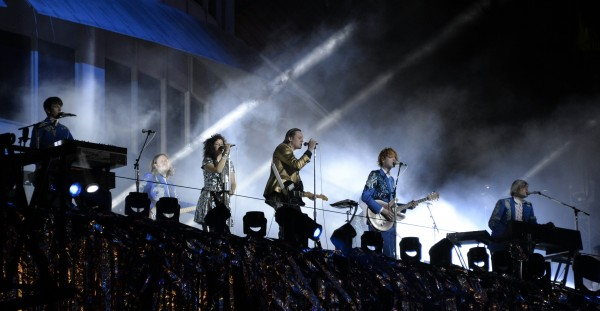 Indie rock band Arcade Fire performs at the Capitol Records building in Hollywood last year.