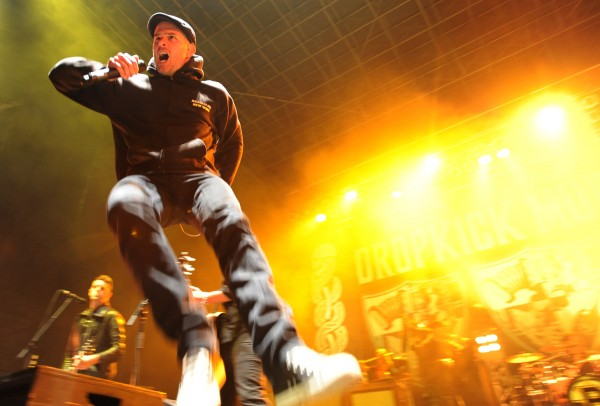 Al Barr, lead singer for Dropkick Murphys, leaps about the stage during a concert in Bangor in this 2011 file photo.
