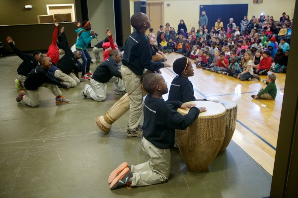 The African Children's Choir performs for students at the East End Community School in Portland on Monday.