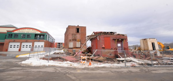One of the buildings was demolished Friday at the former Old Town Canoe Company site in downtown Old Town.