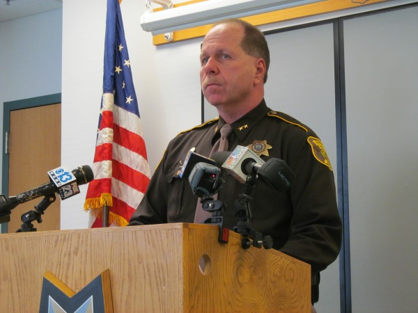 Cumberland County Sheriff Kevin Joyce addresses reporters Monday, two days after a pair of inmates in the county jail's maximum security section breached security and met up for sex.