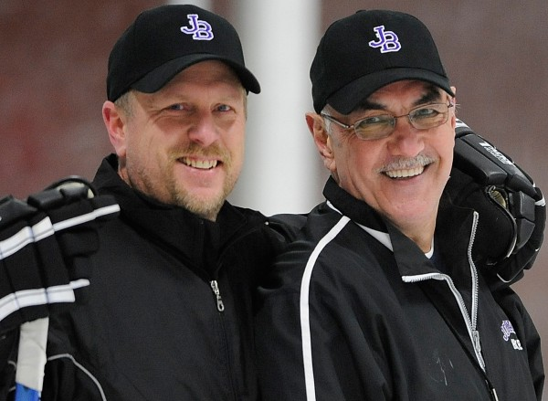 John Bapst assistant hockey coach Matt Stairs (left) and head coach Gene Fadrigon get the photographer's attention during team practice at Bangor's Sawyer Arena in this February 2009 file photo. Stairs is now an analyst for Comcast SportsNet's Philadelphia Phillies games.
