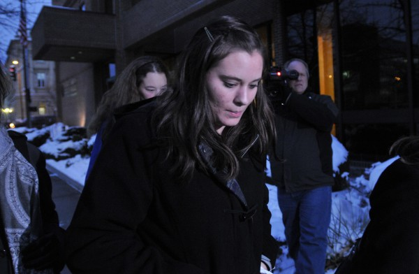 Jordan Graham leaves U.S. District court in Missoula, Mont., in this December 2013 file photo. The Montana bride who shoved her husband off a cliff at Glacier National Park was sentenced to 30 years in prison on Thursday.