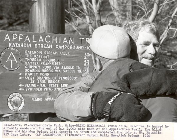 Irwin is hugged by a family member at the end of his hike. Irwin and Orient left Georgia in March 1990 and completed the trip at Mount Katahdin 257 days later.