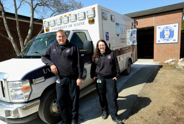 Dakota Turnbull, student chief of the University Volunteer Ambulance Corps, and Kim Jordan, assistant chief of Relations and membership, have both been volunteers at UVAC since they started school at the University of Maine.