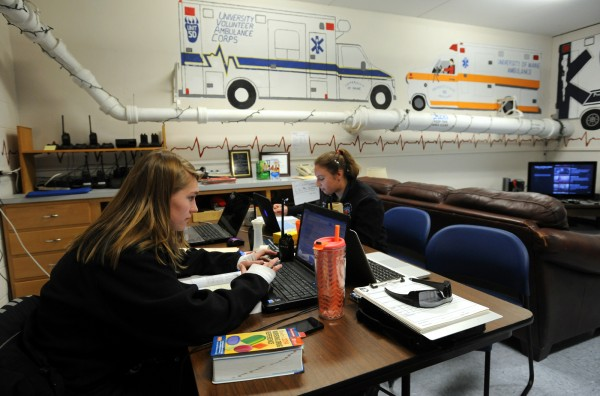 Shayna Silton, left, and Laura Horowitz do school work in the dayroom of the University Volunteer Ambulance Corps  while on shift Thursday at the University of Maine.  UVAC is the on-campus emergency medical service for the University of Maine. They respond to emergency calls at the University and provide mutual aid to surrounding towns.