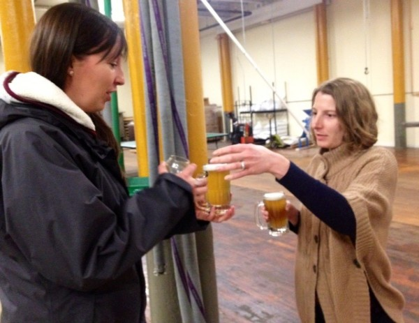 Claire Pineau of Topsham (left) toasts a fellow maven Karie Senus at Banded Horn last week.