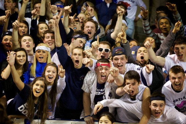 Portland High School basketball fans cheer on their team Saturday night at the Cumberland County Civic Center.
