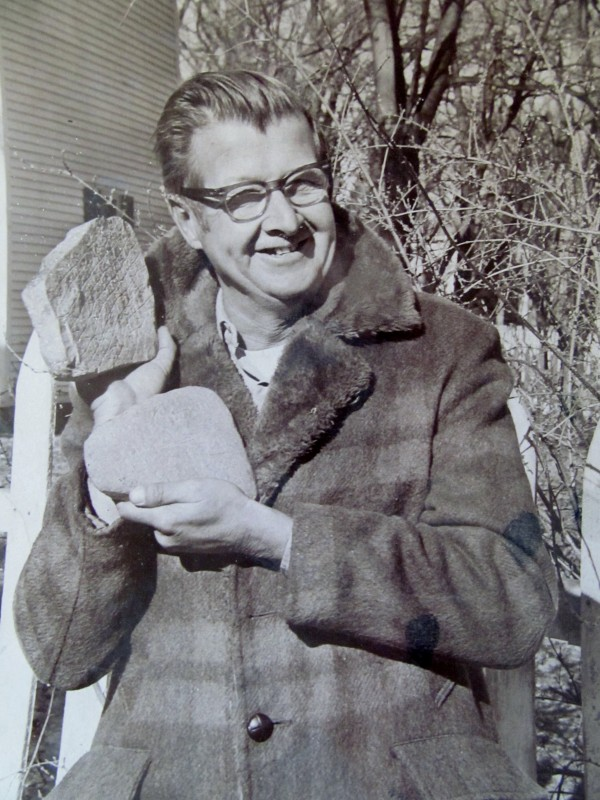 Bath resident Walter Elliot stands by what then was known as the Bath Maritime Museum and shows off the stones he found near Spirit Pond in Phippsburg not long after discovering the supposed artifacts in 1971. The discovery of the stones, which have been inscribed with what appear to be runic characters, touched off a media frenzy and fierce debate about their authenticity.