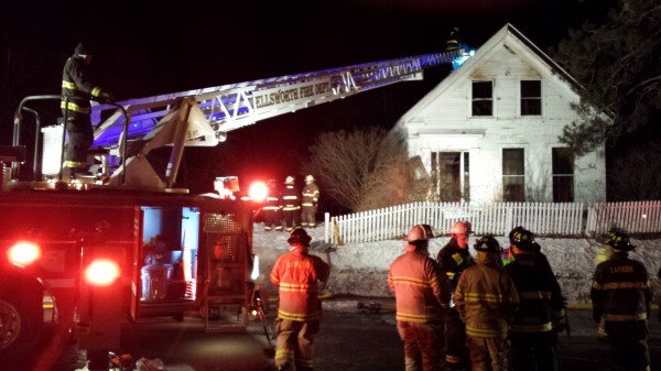 Firefighters respond Sunday evening to a blaze at Birdsacre on High Street in Ellsworth. No one was hurt in the incident, which was reported a little after 6 p.m., but the cause of the fire remained undetermined.