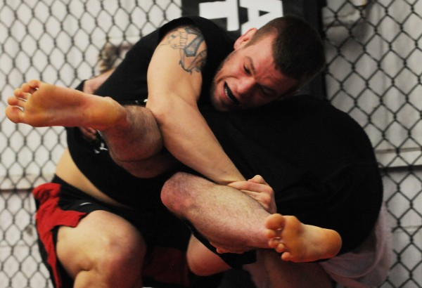 Maine/New England mixed martial arts fighter Ryan Sanders trains at Young's MMA in Bangor on Thursday.