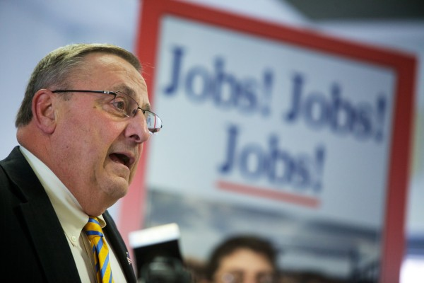 Gov. Paul LePage makes a pitch to shrink the power of Maine's labor unions while offering details about his Open for Business zones proposal at a press conference in Brunswick on Monday.