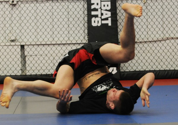 Maine/New England mixed martial arts fighter Ryan Sanders trains in the ring at Young's MMA in Bangor on Thursday.