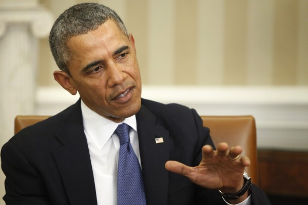 President Barack Obama comments to reporters on the situation in Ukraine before meeting with Israel's Prime Minister Benjamin Netanyahu in the Oval Office of the White House in Washington on Monday. Obama said Monday that Russia has violated international law in its military intervention in Ukraine.