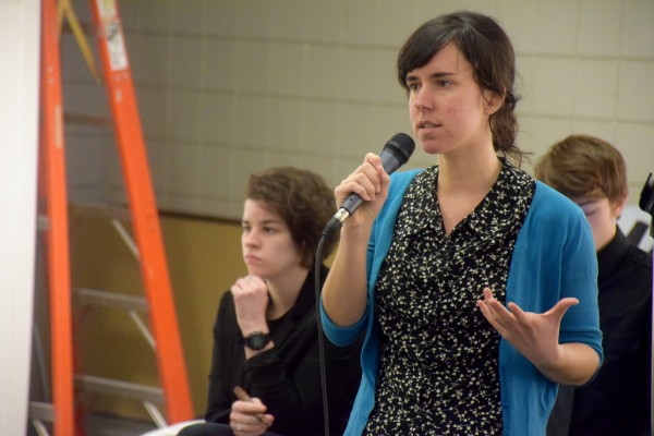 Students for #USMFuture organizer Meaghan LaSala announces that she will be working to organize a march in Portland on April 8 to gain support from the community. LaSala is heading the group's political education committee and will be working to recruit more students to the group.