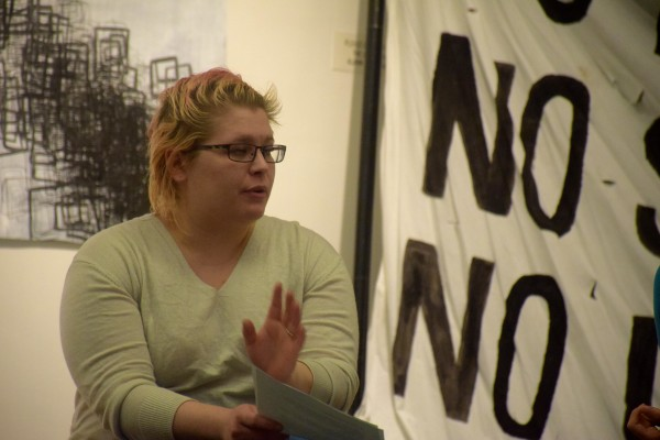 Senior Brittany Goldych tells other University of Southern Maine students about the negative response from the community she has seen in comments on local news, stressing the need to stay professional.