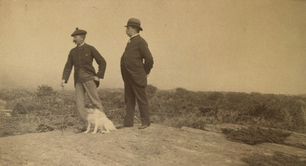 Winslow Homer, his dog Sam, and his father Charles Savage Home, 1890-1895, photograph.