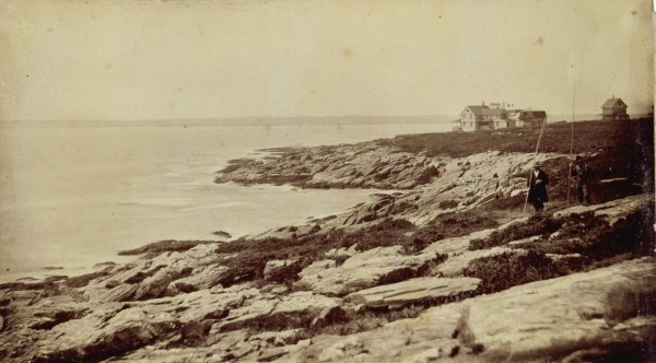 A photograph of a view of the Charles Savage Homer House, ca. 1883.