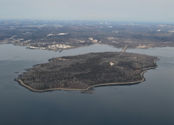 Aerial view Sears Island and Mack Point in Searsport, Maine. Photographed Feb. 27, 2012.