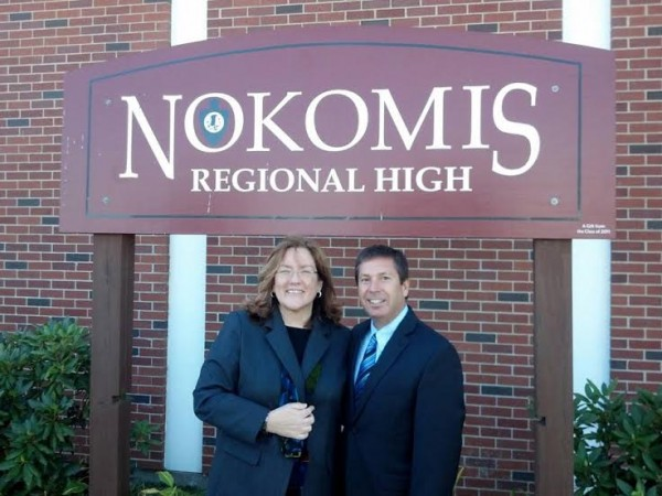 Rep. Ken Fredette, R-Newport, (right) and Chief Justice Leigh I. Saufley posed for a photo in October when the Maine Supreme Judicial Court convened at Nokomis Regional High School in Newport. Fredette sponsored a bill to fund e-filing for the court system, which the Judiciary Committee endorsed Thursday.