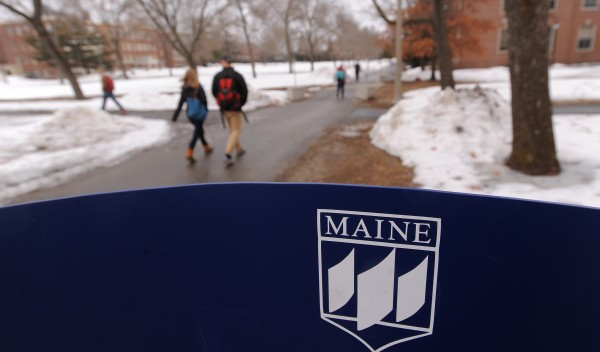 A shot of the University of Maine logo in Orono on Monday.