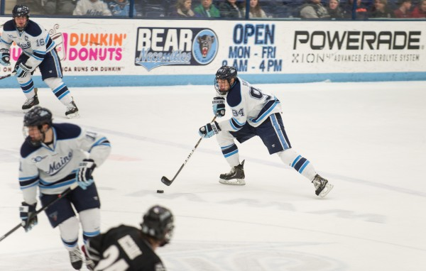 The University of Maine's Devin Shore prepares a play against Providence College on Feb. 28 at Alfond Arena in Orono. Shore will lead the Black Bears in a first-round Hockey East playoff game against Merrimack Saturday night in Orono.