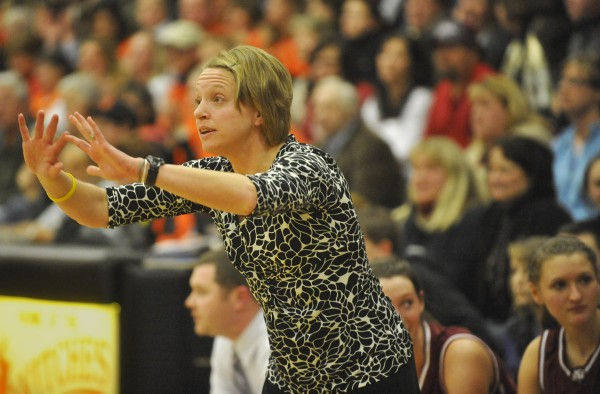 Bangor High School head coach Katie Herbine gives directions to her team during a game in February 2012. Herbine has resigned as Bangor's coach.