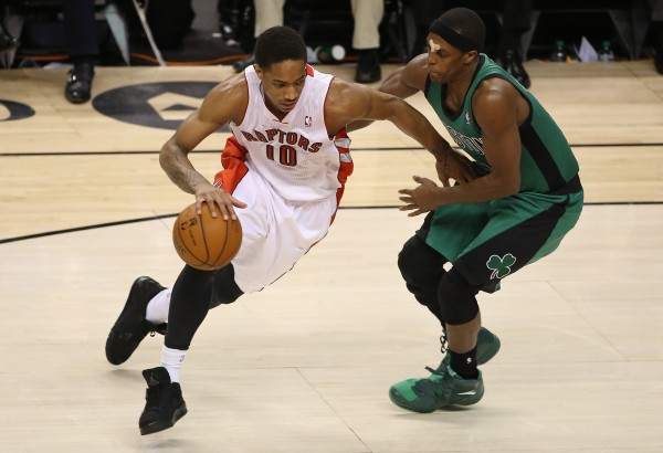 Toronto Raptors guard DeMar DeRozan (10) drives to the basket against Boston Celtics guard Rajon Rondo (9) at Air Canada Centre in Toronto Friday night. The Raptors beat the Celtics 105-103.