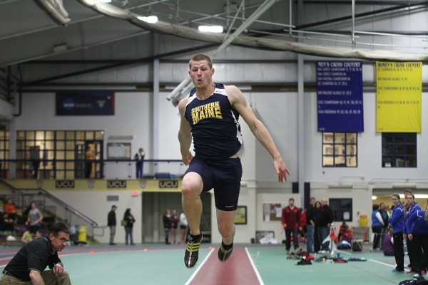 Jamie Ruginski of the University of Southern Maine, a junior from Buxton, won the triple jump title Saturday during the NCAA Division III indoor track and field championships.