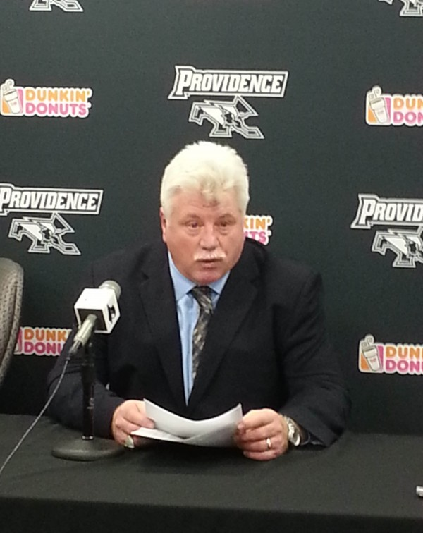 Maine hockey coach Red Gendron responds to questions at a press conference after his team was eliminated by Providence College 4-2 in the second game of a Hockey East quarterfinal series Saturday night at Schneider Arena in Providence, R.I.