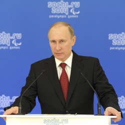 Russian President Vladimir Putin speaks during a meeting with paralympic delegations in Sochi on Thursday.