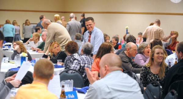 Hundreds of people came to a benefit dinner Saturday night at Jeff's Catering in Brewer for former Bangor Police Chief Don Winslow, who is battling lung cancer.