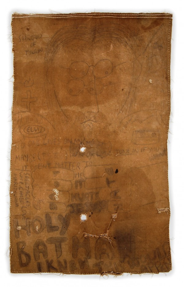 An original artwork by John Lennon called &quotShroud of Tourin&quot, created circa 1966, is shown in this handout photo provided by Julien's Auctions.