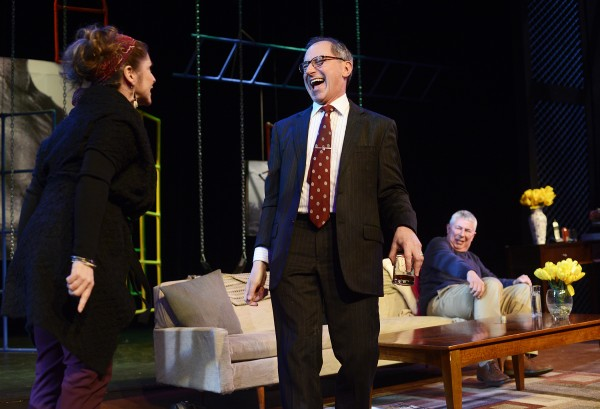 Veronica, played by A.J. Mooney, (left) confronts Alan, played by Mark Torres, (center) as Michael, played by Bernard Hope, recoils to a corner of the couch in Penobscot Theatre Company's production of &quotGod of Carnage.&quot The play will be presented at the Bangor Opera House through March 30.